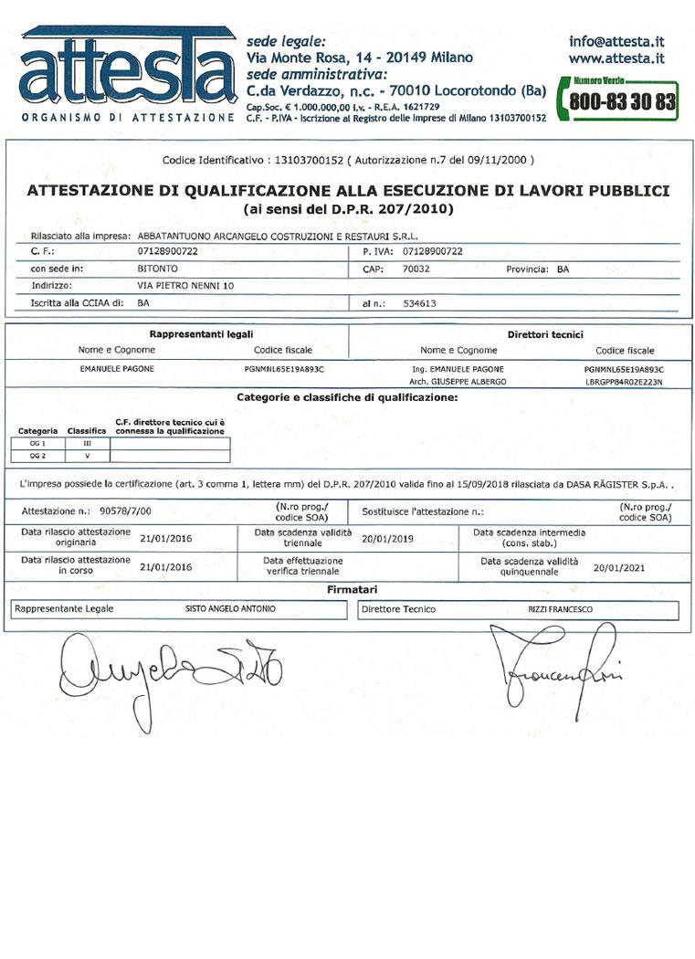 Certificazioni - ABBATANTUONO